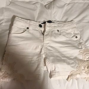 white jean shorts with lace